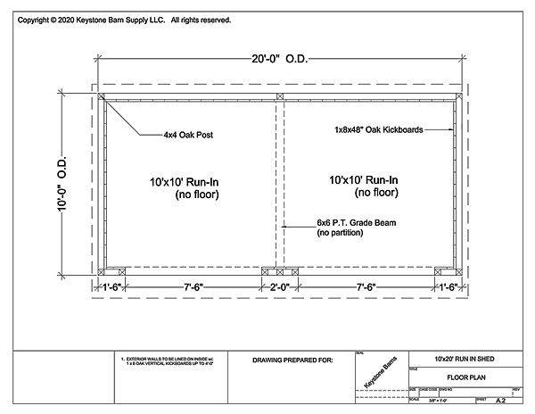 10' Wide Run In Shed Floor Plan