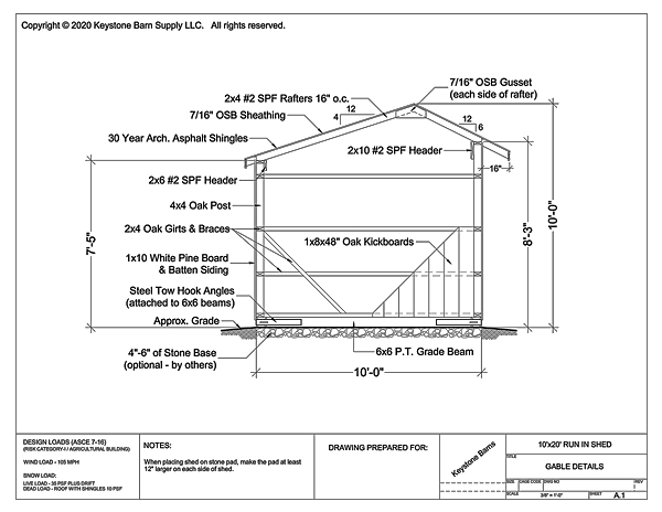 10' Wide Run In Shed Gable Specifications
