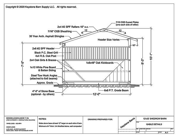 12' Wide Shedrow Barn Gable Specifications