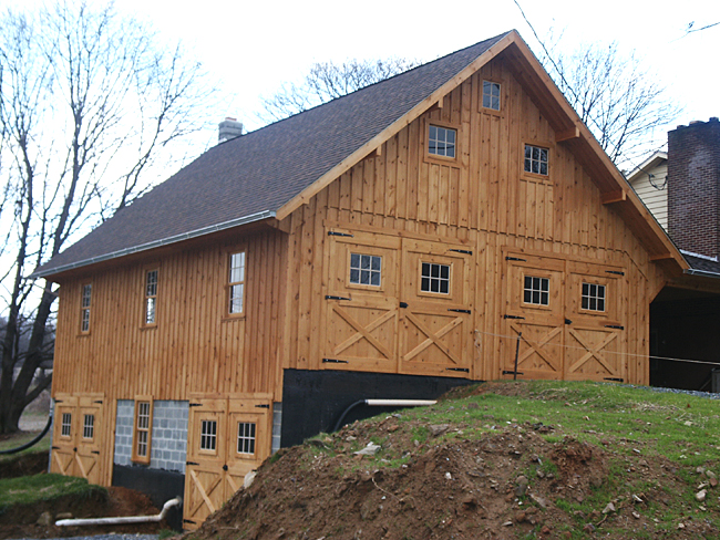 Bank Barn Construction With Wooden Siding