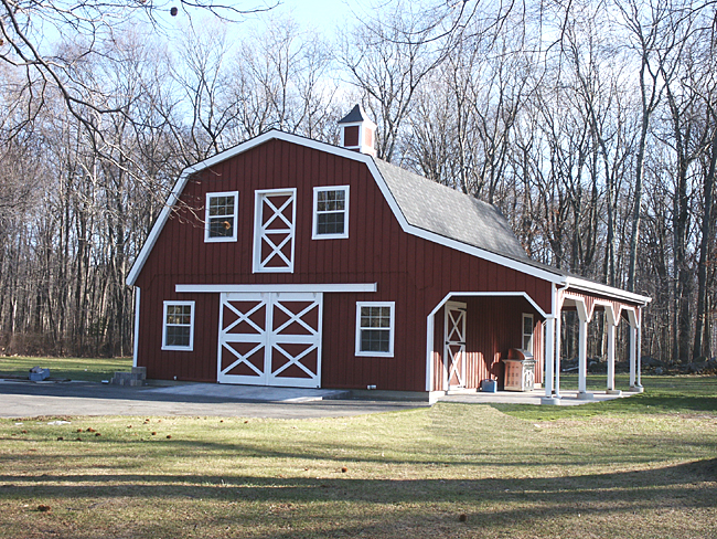 Barn with gambrel roof for Barn style garage plans for free