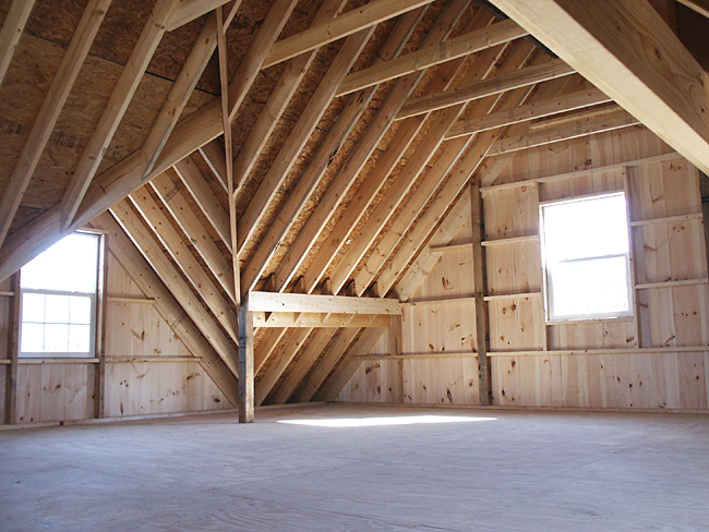 Custom Barn Unfinished Loft With Dormer
