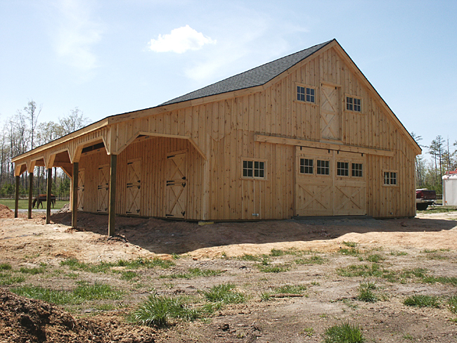 36x48 Horse Barn with Lean-to