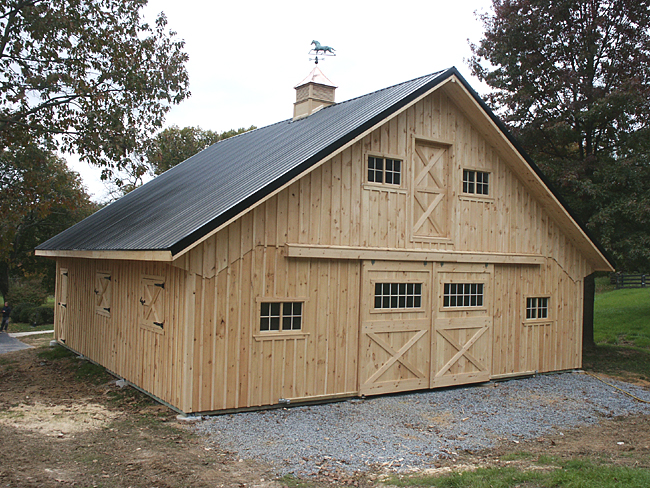 Metal roof metal roof horse barn for Metal barn designs