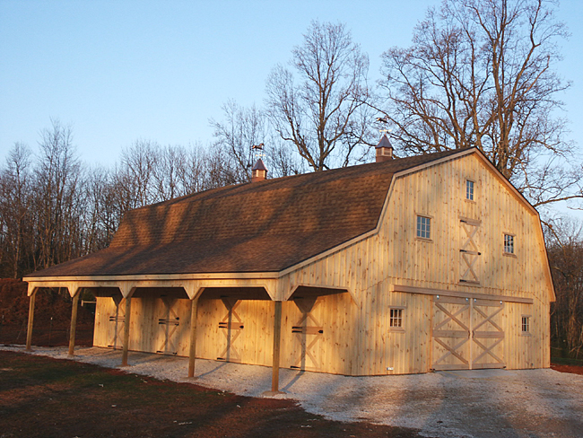 Horse barn with gambrel roof Gambrel roof pole barn