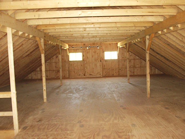 Barn Built With Rafters And Full Loft Provides The Most Usable Storage Space On Wider Buildings Are Supported In Mid Span By Installation Of
