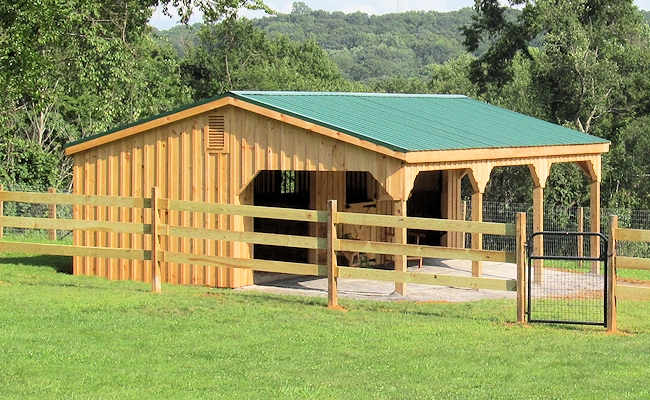 Lean to sheds and horse barns with large overhangs for Cheap barn kits