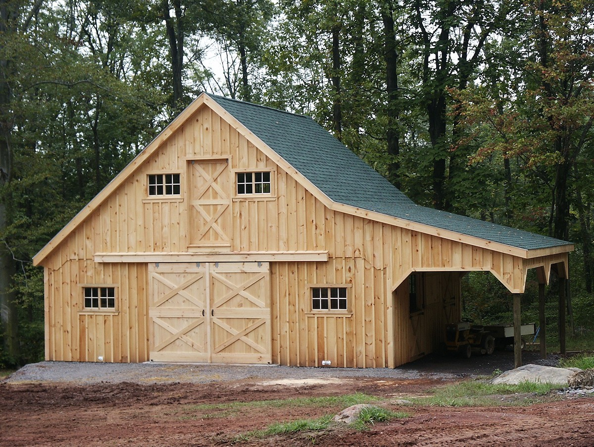 Amish built modular horse barns and stables for Lean to barn