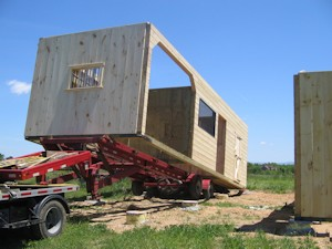 Delivery of Modular Barn Section