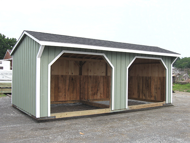 Painted Run In Shed with Two Bays