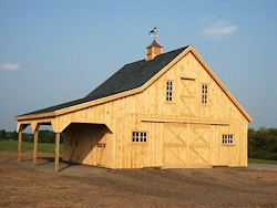 30'x24' Horse Stable Plan with Lean-to